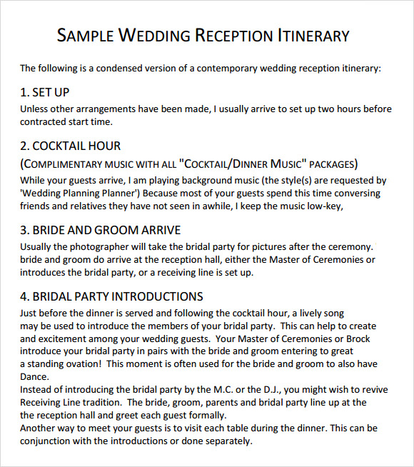 Sample Wedding Reception Itinerary Template Kelowna Now Events
