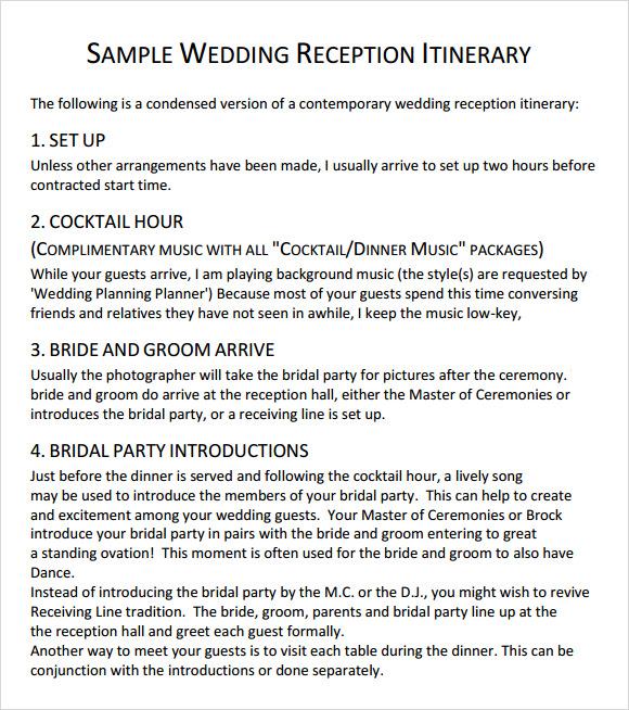 Sample Wedding Reception Itinerary Template