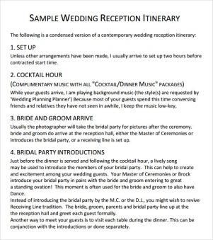 Sample-Wedding-Reception-Itinerary-Template